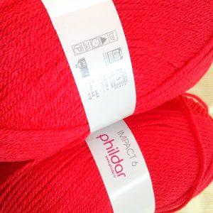 color rojo, impact 6 de phildar, lote 2 ovillos